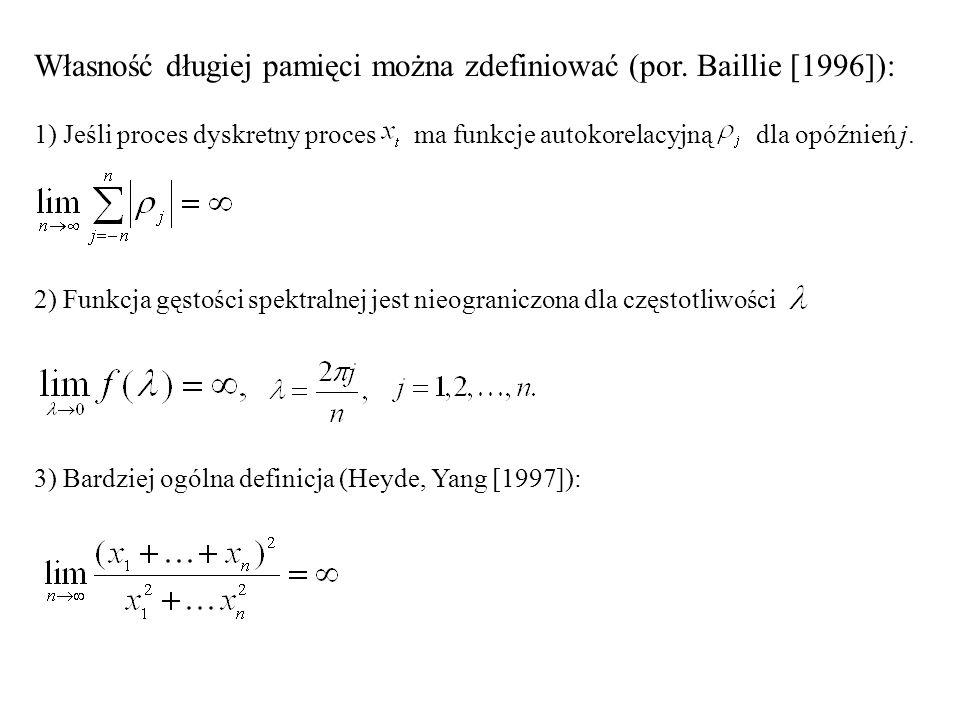 Własność długiej pamięci można zdefiniować (por. Baillie [1996]):